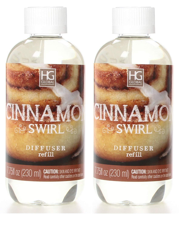 Hosley Set of 2 Premium Cinnamon Swirl Reed Diffuser Refills Oil, 230 ml (7.75 fl oz) Made in USA. Bulk Buy. Ideal Gift for Weddings, spa, Reiki, Meditation Settings W1