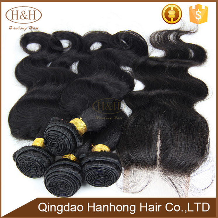 Grade 8a virgin burmese body wave weave human hair with closure