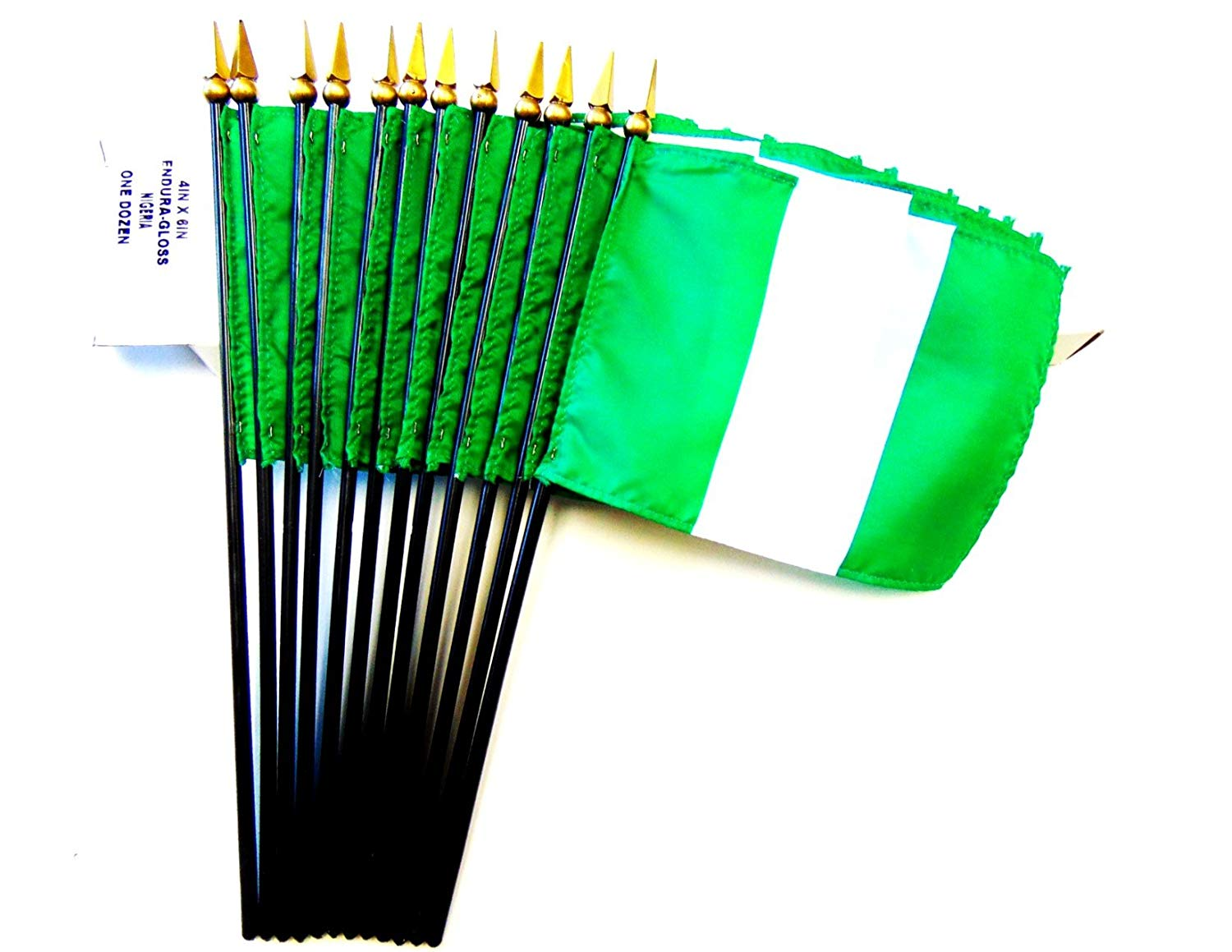 "Made in USA!! Box of 12 Nigeria 4""x6"" Miniature Desk & Little Table Flags; 12 Office and Waving Small Mini Nigerian Handheld Stick Flags in a Custom Made Cardboard Box Made for These Flags"