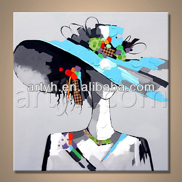 Handmade Wear Hat Modern Girl Painting On Canvas