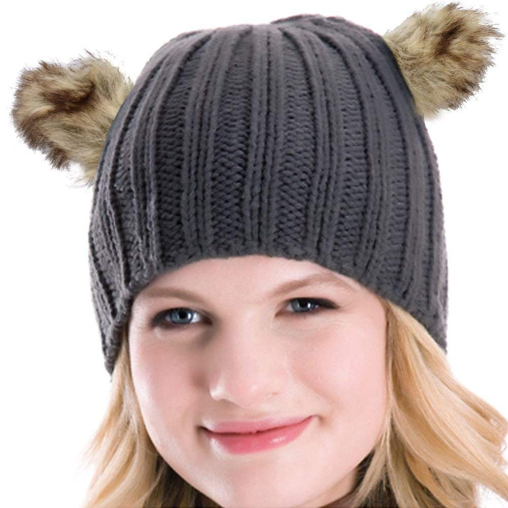 6c8dc3b2eb3 Get Quotations · Women Rib Knitted Beanie Hat with Faux Fur Animal Bear Ears  Cream Grey Black Hat