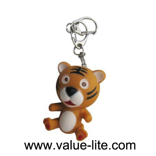 New product plastic tiger 2 led keychain light with sound button cell top selling products in alibaba