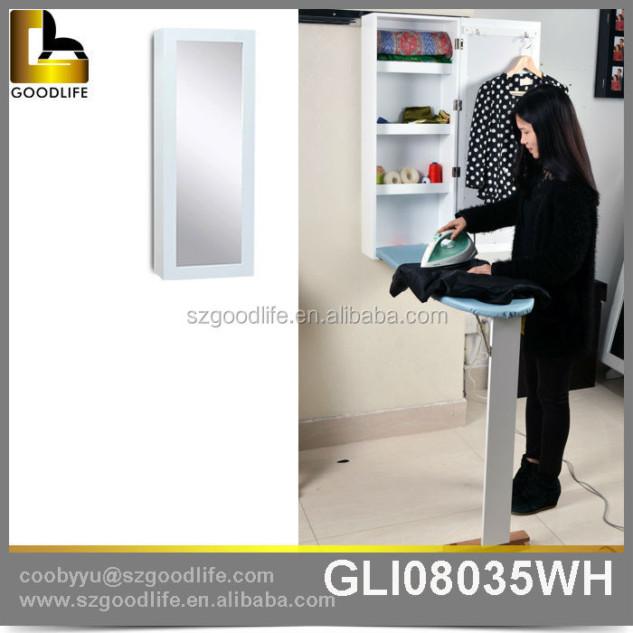 Wall mounted home decor foldable mirror ironing board storage cabinet