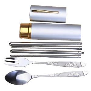 SODIAL(R) Stainless Steel Fork Spoon Chopsticks Set