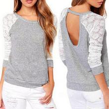 New 2016 Spring Autumn Women Backless Embroidery Lace Casual Hoodies Long Sleeve Sweatshirts Ladies
