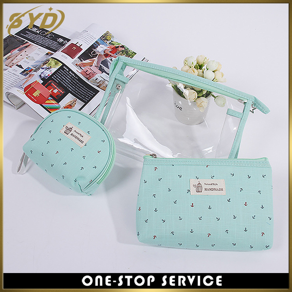 Portable cheap price PVC 3in1 makeup bag Colorful anchor printing travel cosmetic makeup bag