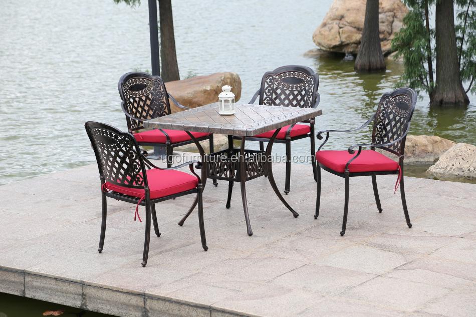 Modern Design Cast Aluminum Patio Furniture In Garden Set With Ceramic Tile Table