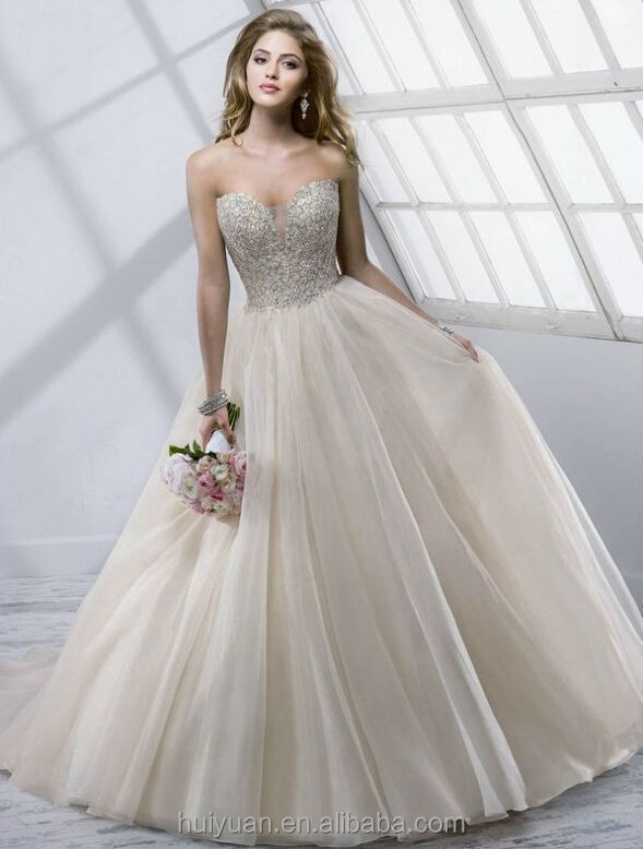 Sexy Sleeveless Beaded Ball Gown Champagne Colored Wedding Dresses ...