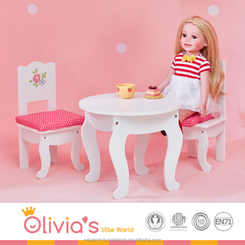 Olivia S Little World Princess White Table And 2 Chairs Set With Cushions Wooden 18 Inch Doll Furniture Buy Doll Furniture For 18 Dolls Doll