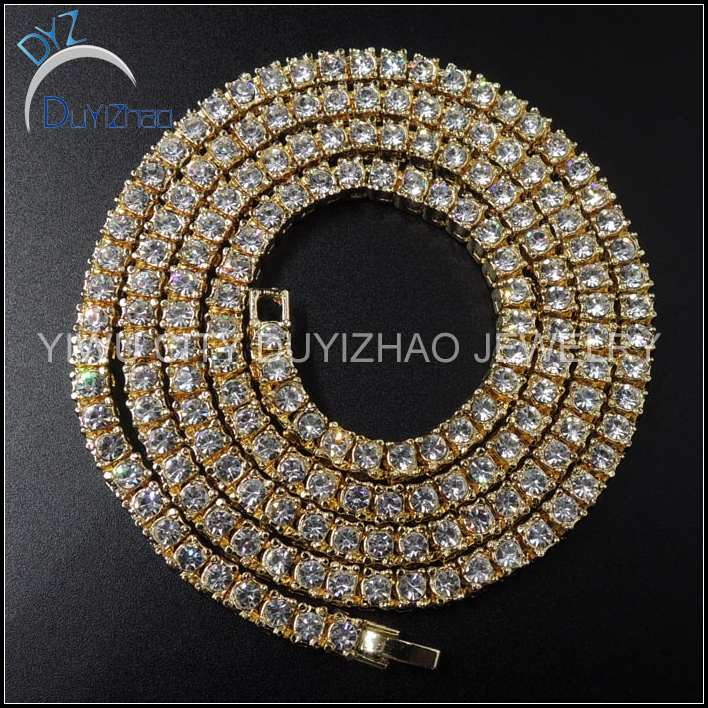 yiwu factory custom bling bling hip hop mens necklace jewelry cheap colorful necklace hip hop jewelry