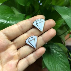 Hot Sale In Stock Custom White Hard Enamel Diamond Shaped Lapel Pin