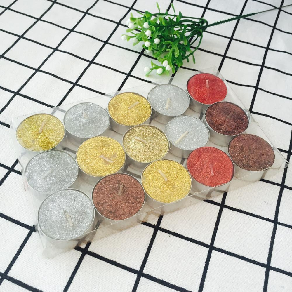 Decoration Scented Tea Light Colored Glitter Tealight Candles