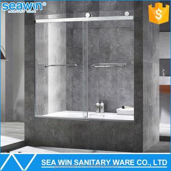 Frameless Sliding Tub Shower Doors csi/sgcc/ansi approved 8mm tempered glass frameless shower screen