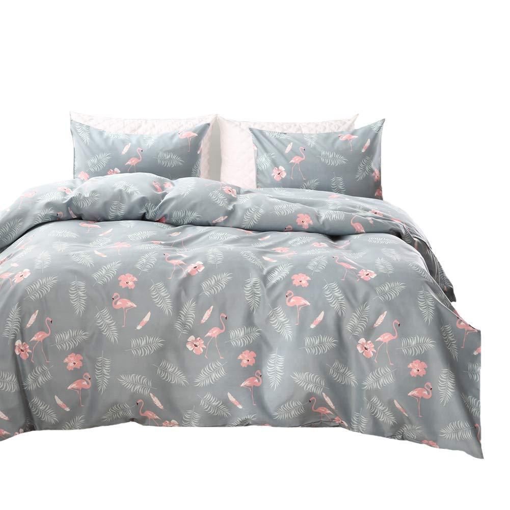 "MOVE OVER Flamingo Bedding Tree Duvet Cover Set Pink Flamingo and Leaf Printed Design Grey Floral Bedding Sets King-(104""x90"")-(1 Duvet Cover+2 Pillowcases) (King, Flamingo)"