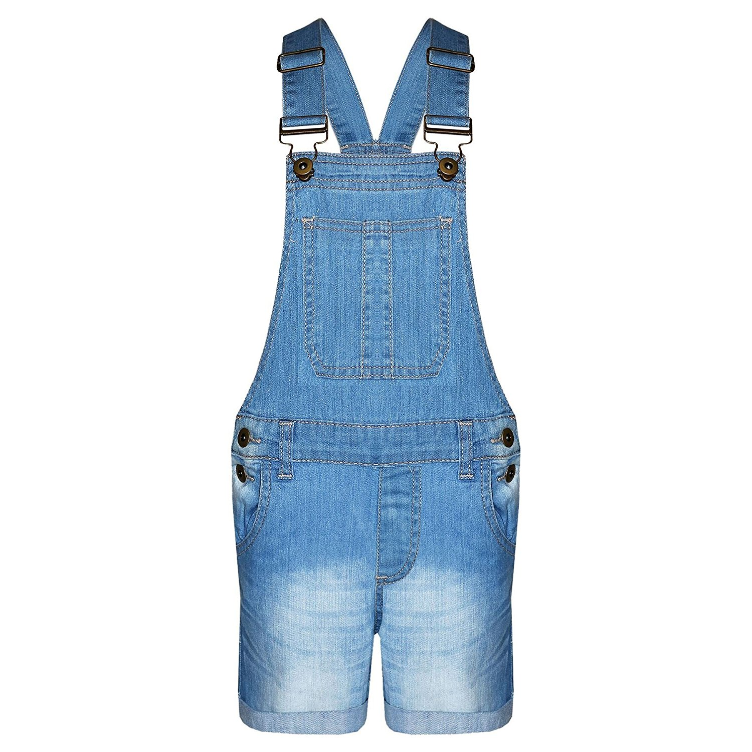602fc64667be Get Quotations · A2Z 4 Kids Girls Denim Stretch Dungaree Shorts Jumpsuit  Playsuit All in One