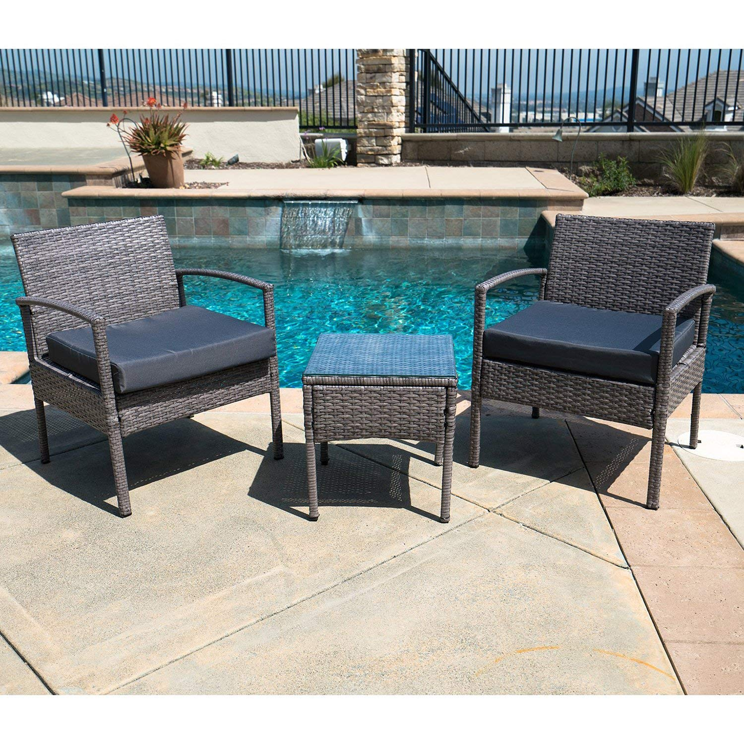Outdoor Patio Furniture Set 3 Pieces Wicker Patio Set with Cushions Table & Two Single Sofas Gray Finish and Light Navy Cushions Outdoor Furniture Lawn Rattan Garden Set