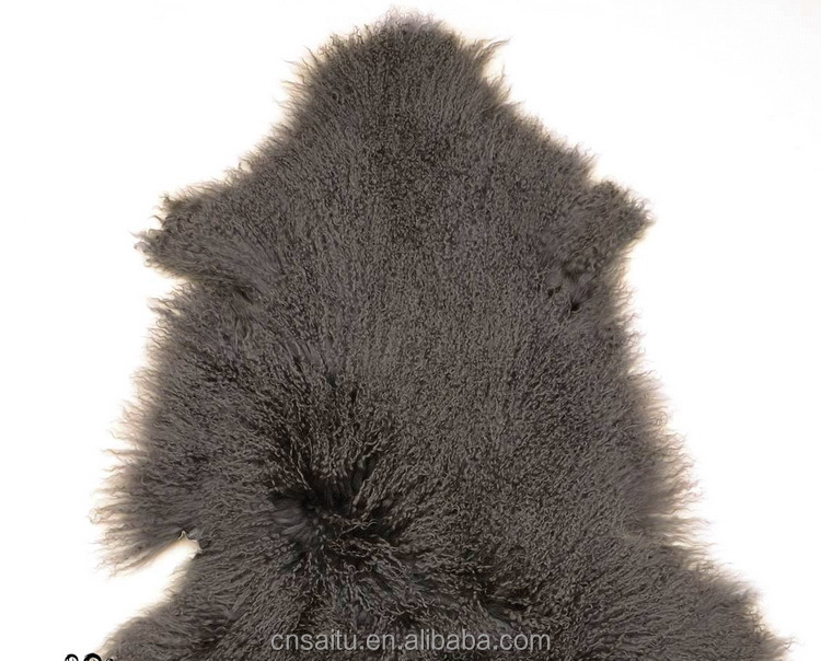 ST-55X100 2016 New Winter Collection Genuine Mongolian Lamb Fur Blanket Fur Rugs with Super Curly Soft Hairs