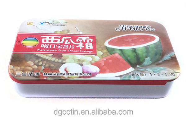 food packaging mint sliding small empty metal tin box