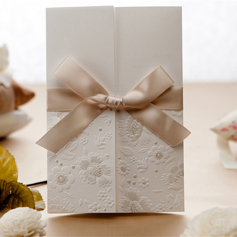 Laser Cut Wedding Invitation Cards Embossing Birthday Party Greeting With Bowknot Ribbon Envelope Seals Ivory Invitations Layered