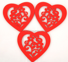Bulk Red tea coaster heart shaped coaster felt coaster
