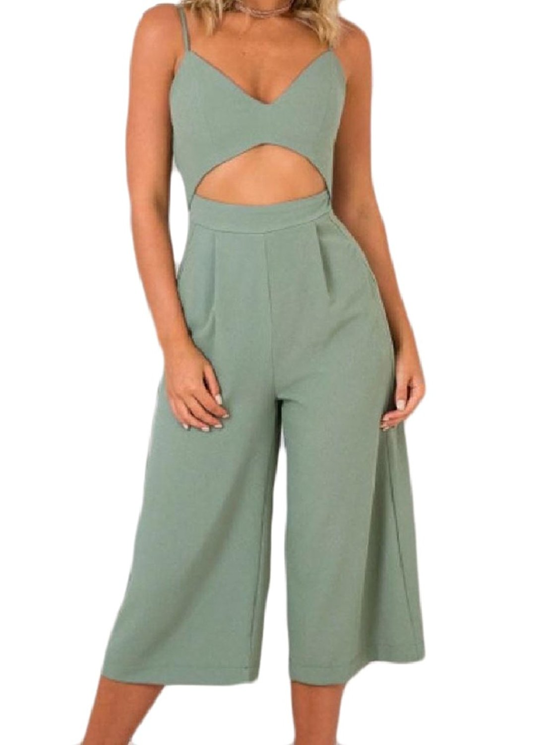Zimaes-Women Hollow Out Sling Backless Zip-up Pocket Siamese Pants