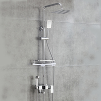 Chrome wall mounted rainfall shower faucet, hand shower set