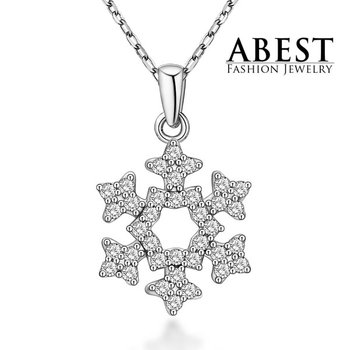 Hot Sale Snow Pendant Sterling 925 Silver Plating 18K White Gold Elegant Pendant Necklace Jewelry