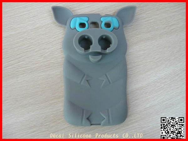 Decai silicone fashion fashional 3D pirate pig silicon case for iphone 4