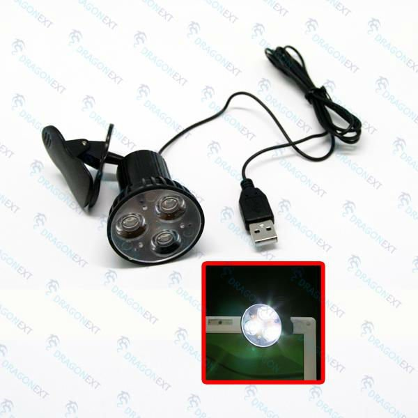 Usb Clip-On 3 Led Rotatable Spot Light Lamp For Laptop Notebook