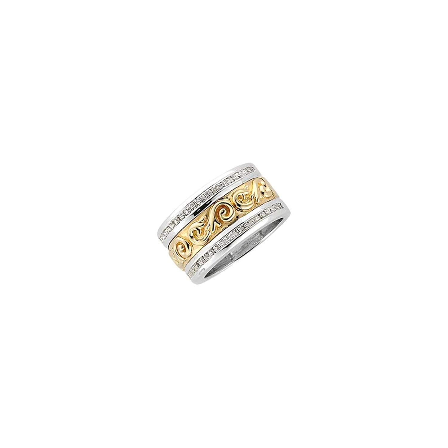 Bonyak Jewelry Etruscan-Style Anniversary Band in Two-Tone 14k White & Yellow Gold - Size 6