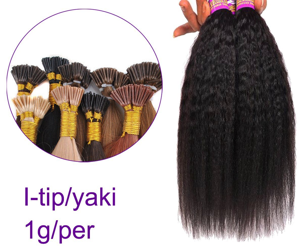"""Remhumhai I-tip YAKI Wavy Human Hair ExtensionLength 22""""(55cm),100strand(1g/per),Hightlight #4/27, Thickest ends on Amazon,100% Remy Human Hair,Professional Human Hair Factory Selling"""