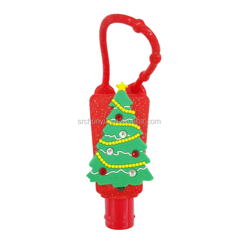 1 Oz Lotion Pocketbac Hand Gel Sanitizer Holder Case Cover PVC Silicone Embossed Christmas Tree