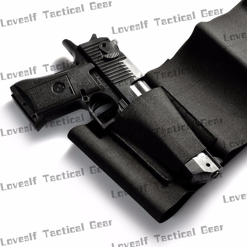 Waist Pistol Holster Elastic Belly Band Gun Holster With Pouch Magazine