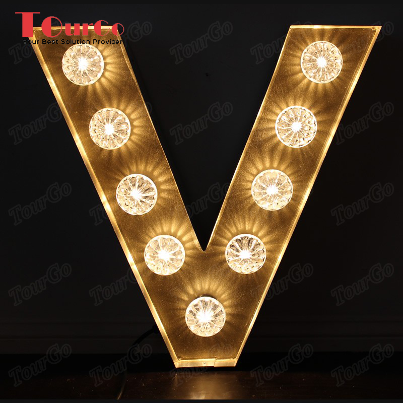 TourGo Wood led light letter V for kids room decoration