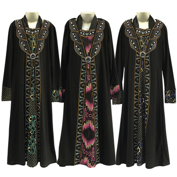 Traditional Muslim Cloth Black Abaya With Embroidered For Girl
