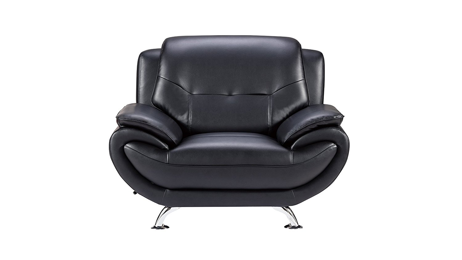 American Eagle Furniture Highland Bonded Leather Living Room Sofa Chair with Pillow Top Armrests, Black