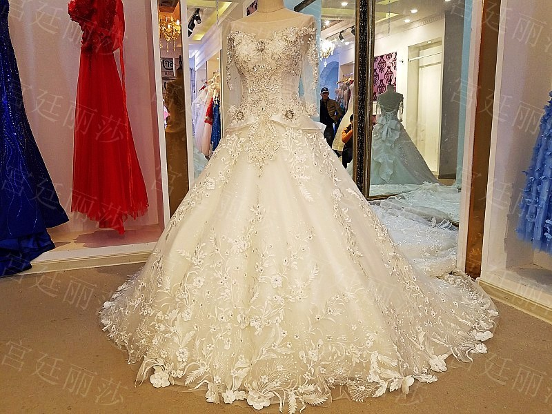 LS50321 Muslim Wedding Gown Lehenga Bridal Dress Bling Ball Full Sleeves Model Picture Of