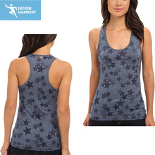 low neckline scattered star print tank dry flat CVC womens knitted vest