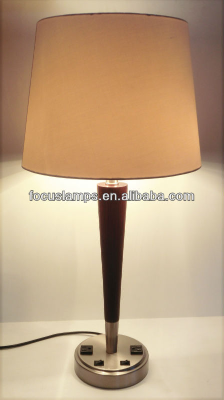 Hotel Wooden Desk Lamp With Outlet On Base Table Product