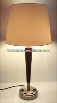 Hotel Wooden Desk Lamp With Outlet On Base Buy Hotel Wooden Desk