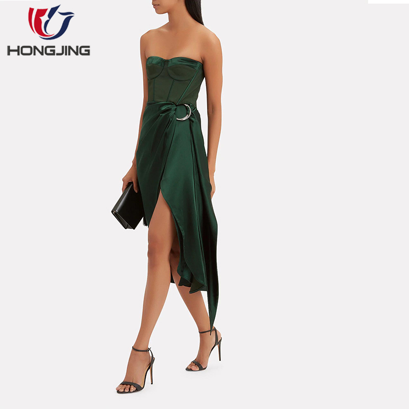 Frauen süße herz-ausschnitt Liebsten Bustier Asymmetrische DressStrapless Korsett styling boning frontseiten-schlitz ärmelloses party kleid