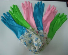 fashion long cuff cleaning household latex gloves for dish clothes