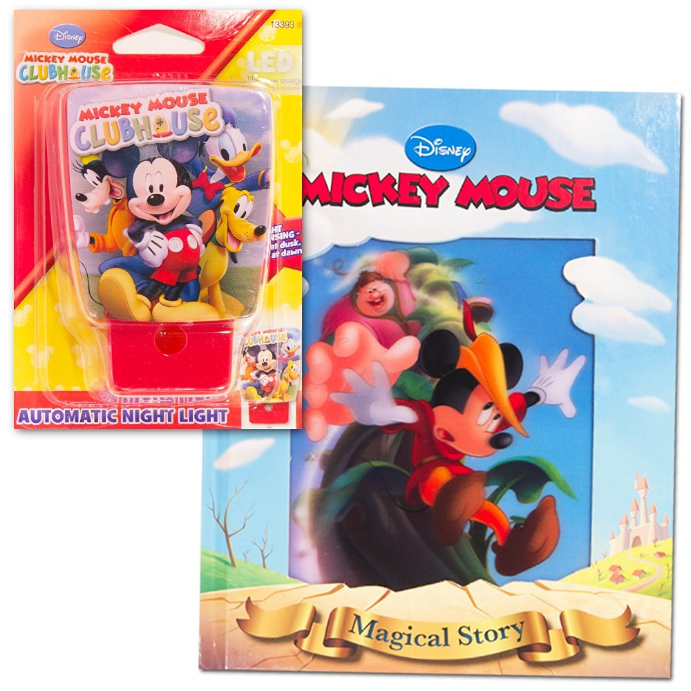 Disney Mickey Mouse Night Light and Storybook Set -- Nightlight and 3 Look and Find Story Books (Mickey Mouse Bedtime Set)