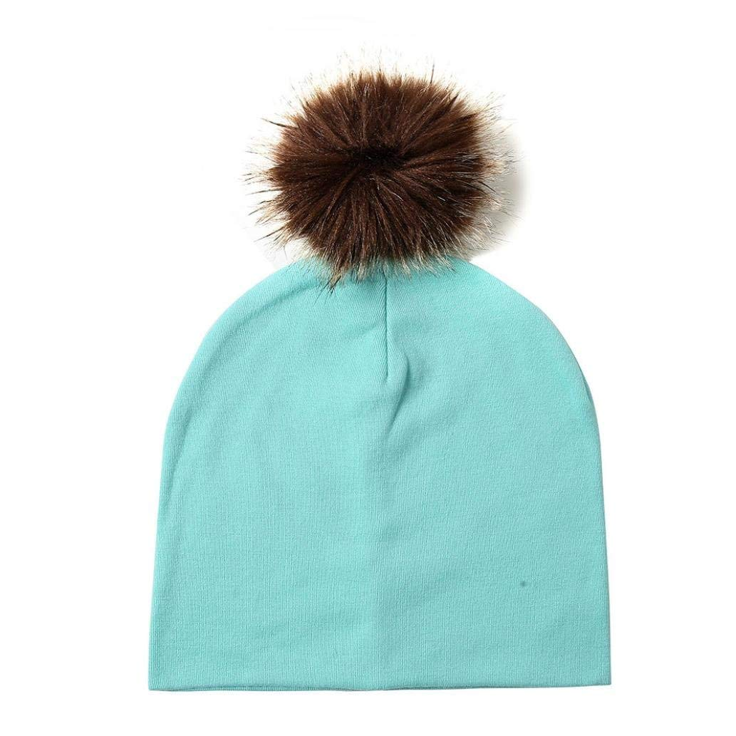 SUKEQ Baby Beanie Hat, Children Crochet Knit Pom Pom Hat Wool Knit Winter Warm Skull Hat Slouch Ski Caps
