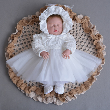 d86f37670 Baby Frock Design Toddler Girl Lace Christening Gown White Tulle Infant  Princess Baptism Dress Baby Girls