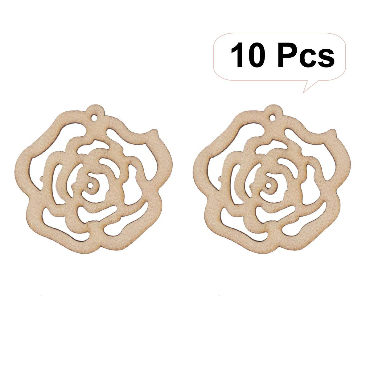 LUOEM 10PCS Hollow Rose Flower Cutout Veneers Slices For Patchwork DIY Crafting Decoration Christmas Wooden Crafts Embellishment Christmas Tree Pendants Hanging Ornaments Wood Tag