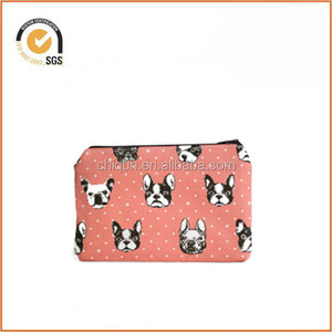 Coral French Bulldog Zipper Pouch / Cute Camera Bag with Polka Dots By Chiqun Donggaun CQ-H03012