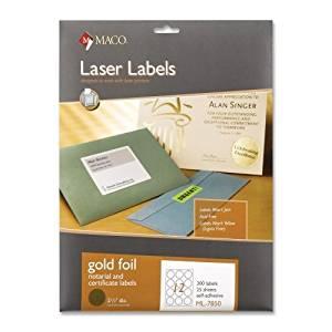 "Wholesale CASE of 15 - Maco Round Gold Foil Laser Labels-Foil Laser Seals, 2-1/2"" Diameter, 300/PK, Gold"