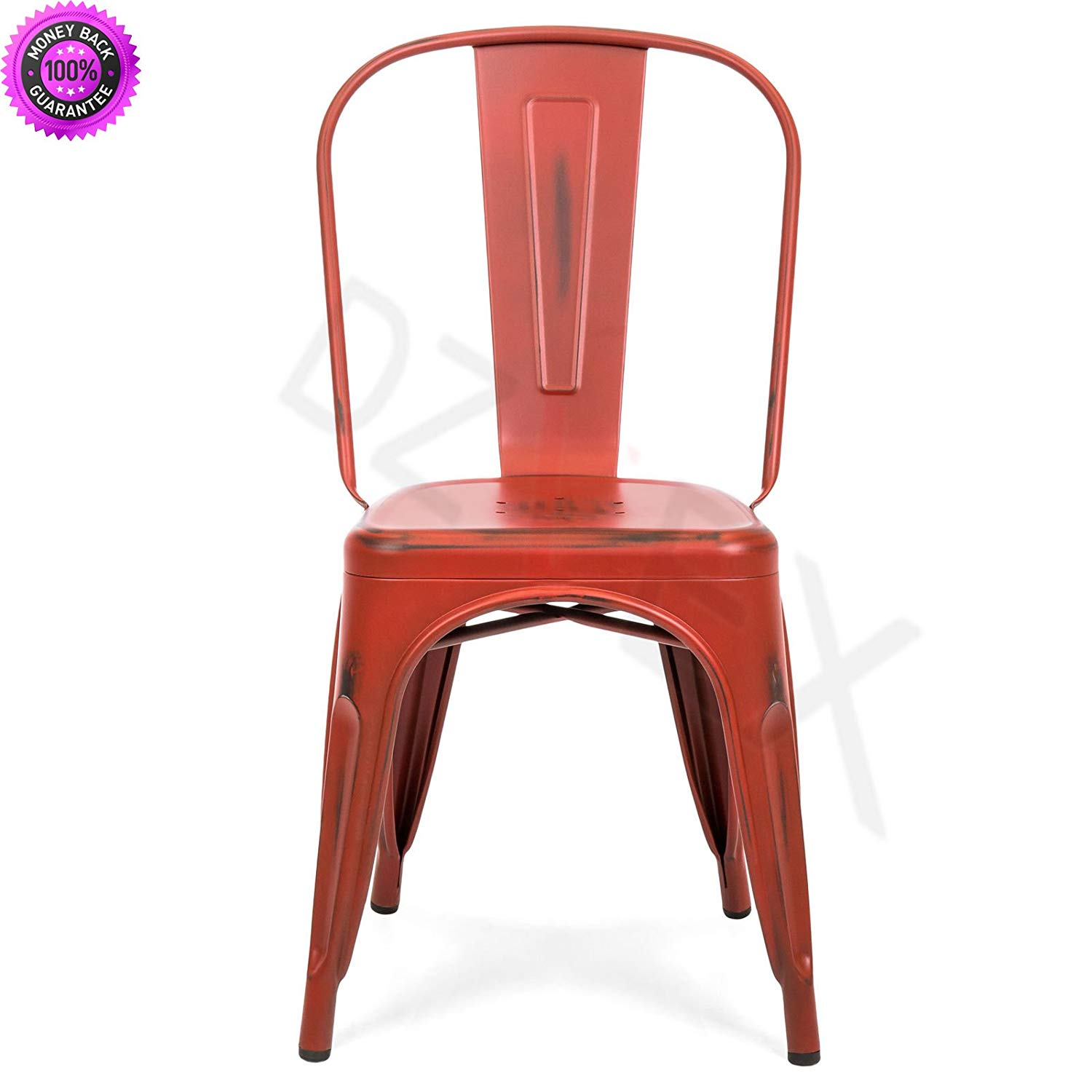DzVeX_Set of 4 Distressed Industrial Metal Dining Side Chairs (Red) And restaurant chairs stacking chairs waiting room chairs office furniture chair mats for carpet chairs for sale cheap office