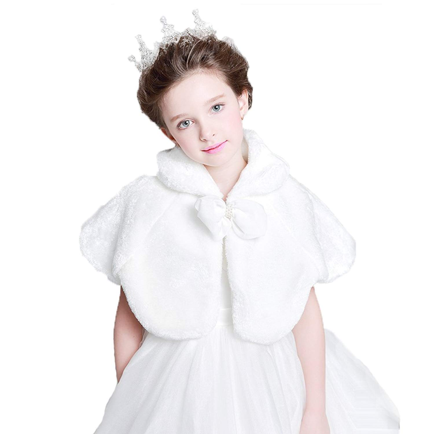 b9dd1ff23a EdenShow Flower Girls Faux Fur Shrug Bow Bolero Winter Jacket Princess  Bridesmaid Cape Wedding Party Dresses